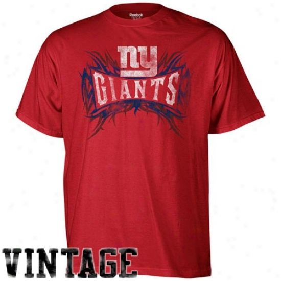 Ny Giants Shirt : Reebok Ny Giahts Red Vintage Outlast Shirt