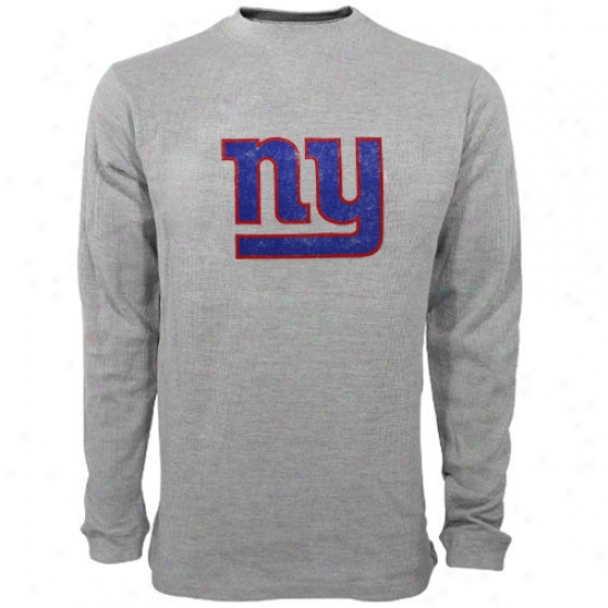 Ny Giants Shirts : Reebok Ny Giants Youth Ash Distressed Logo Long Sleevr Thermal Shirts