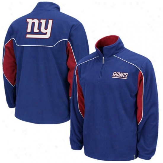 Ny Giants Sweatshirts : Reebok Ny Giants Royal Blue Final Score 1/4 Zip Pullover Sweatshirts Jacket