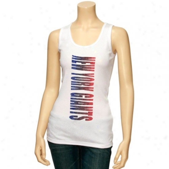 Ny Giants T-shirt : Ny Giants Ladies White Oversize Graphic Tank Tlp