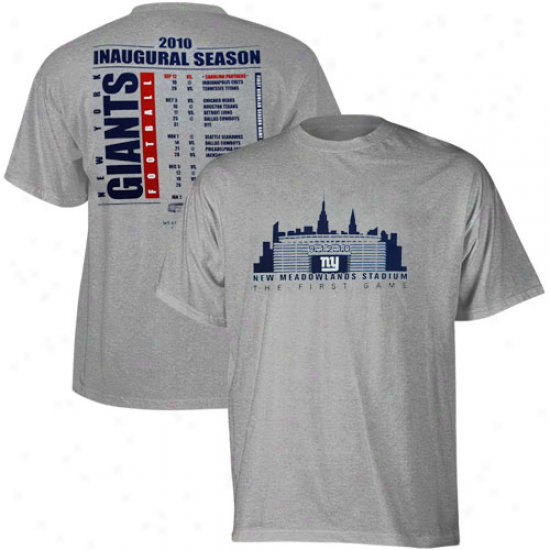 Ny Giants T Shirt : Reebok Ny Giants Ash New Stadium Inaugural Schedule T Shirt