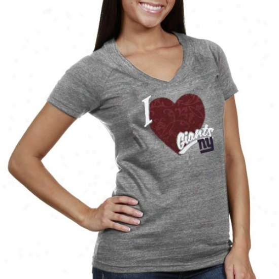 Ny Giants T-shirt : Reebok Ny Giants Ladies Gray I Love This Team V-neck Tri-blend T-shirt