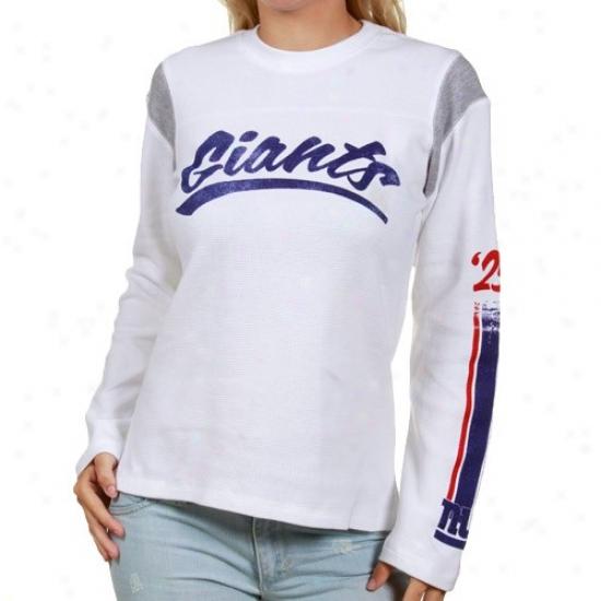 Ny Giants T-shirt : Reebok Ny Giants Ladies Pure Striped Script Waffle Long Sleeve T-shirt