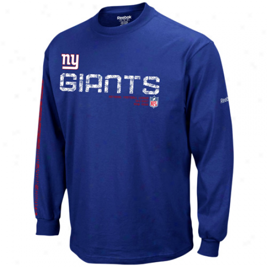 Ny Giants T-shirt : Reebok Ny Giants Youth Royal Blue Sideline Tacon Long Sleeve T-shirt