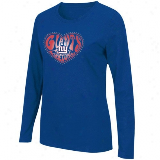 Ny Giants Tshirts : Ny Giants Ladies Royal Blue Heart Of The Field Ling Sleeve Tshirts