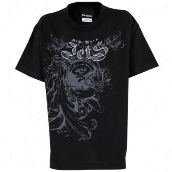 Ny Jet Apparel: Ree6ok Ny Jet Youth Black Soldier Juvenility T-shirt