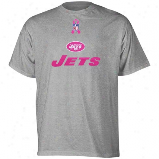 Ny Jet Attire: Reebok Ny Jet Ash Lockup Awareness T-shirt