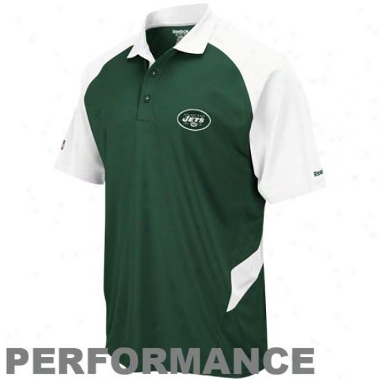 Ny Jet Golf Shirts : Reebok Ny Jet Green-white Sideline Statement Performance Golf Shirts