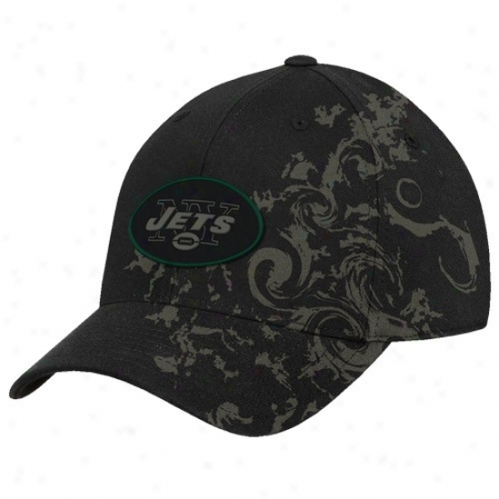Ny Jet Hat : Reebok Ny Jet Black Tattoo Swirl Stfuctured Flex Fit Hat