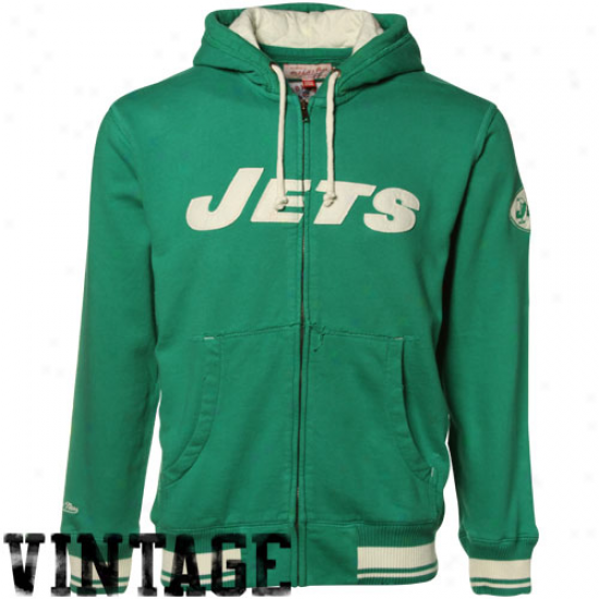 Ny Jet Stuff: Mitchell & Ness Ny Jet Green Standing Space Reward Full Zip Hoody Jacket
