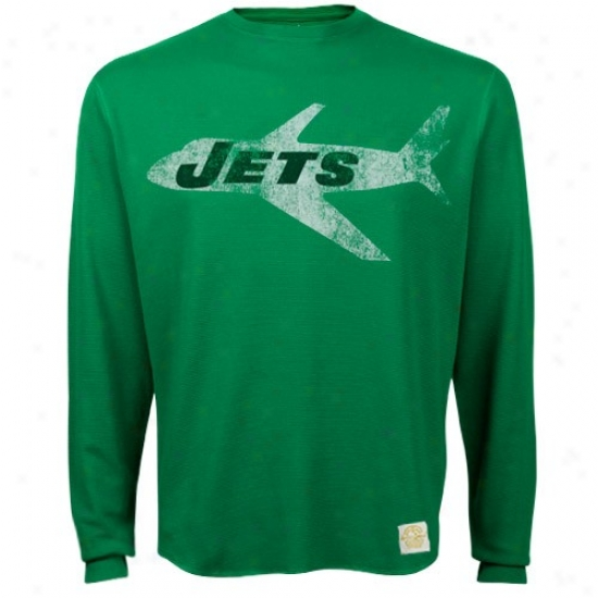 Ny Jets Apparel: Reebok Ny Jets Green Bigger Better Logo Premium Long Sleeve T-shirt