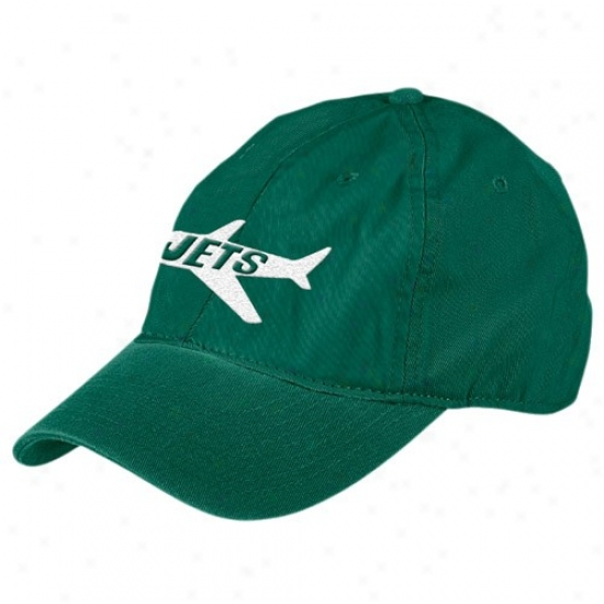 Ny Jets Hat : Reenok Ny Jets Green Retro Bzdic Logo Slouch Adjustable Hat