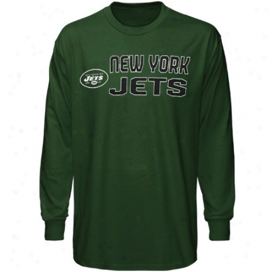 Ny Jets Shirts : Reebok Ny Jets Youth Green Summer Stack Long Sleeve Shirts