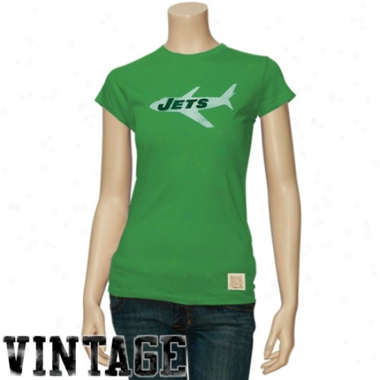 Ny Jets T Shirt : Reebok Ny Jets Ladies Green Retro Logo Vintage Premium T Shirt