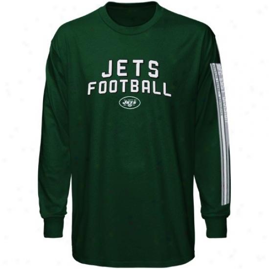 Ny Jets Tshirt : Reebok Ny Jets Youth Green Stacks Long Sleeve Tsjirt