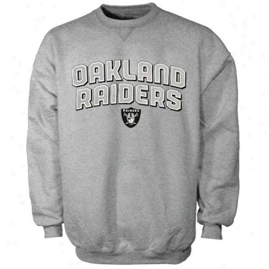 Oakland Raider Fleece : Reebok Oakland Raider Ash Fold Arch Crew Fleece