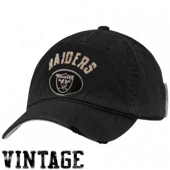 Oakland Raider Hats : Reebok Oakland Raider Black Vintage Adjustable Slouch Hats