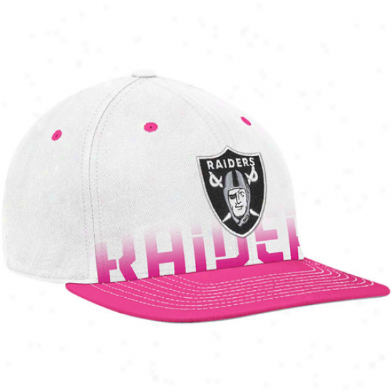 Oakland Raider Hats : Reebok Oakland Raider White-pink Breast Cancer Awateness Flat Brim Flex Hats