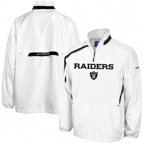 Oakland Raider Jacket : Reebok Oakland Raider White Throttle Hot Jacket