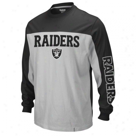 Oakland Raider Shirt : Reebok Oakland Raider Silver-black Arena Long Sleeve Shirt