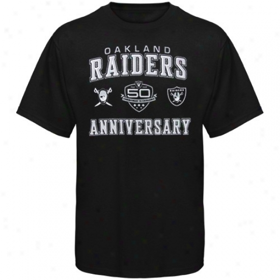 Oakland Raider Shirt : Reebok Oakland Raider Youth Black 50th Anniversary Arch Shirt