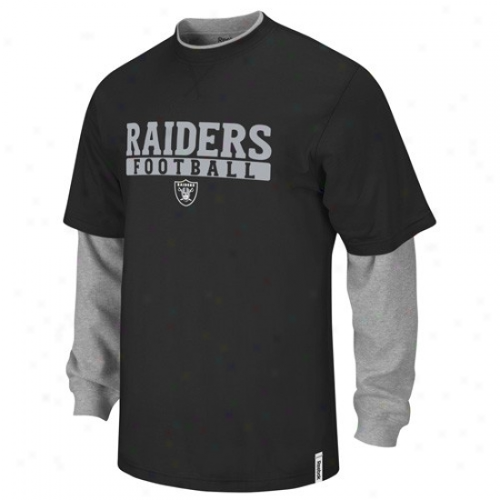 Oakland Raider Shirts : Reebok Oakland Raider Youth Black-gray Splitter Long Sleeve Shirts