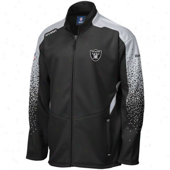 Oakland Raider Sweatshirt : Reebok Oakland Raider Black Summit Drift Full Zip Jacket