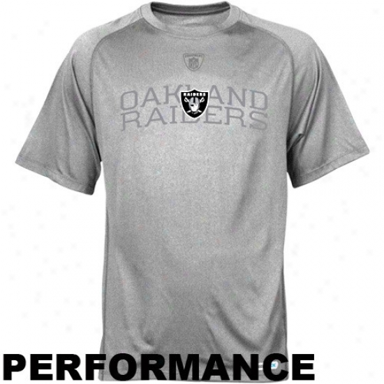 Oakland Raider T Shirt : Reebok Oakland Raider Strong Gray Founadtion Speewdick Performance T Shirt