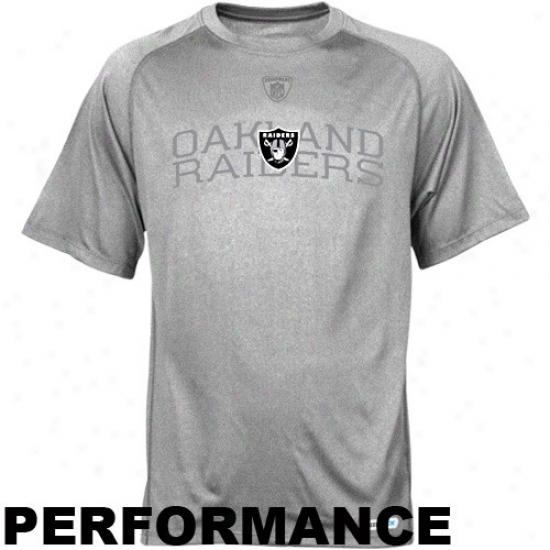 Oakland Raider T Shirt : Reebok Oakland Raider Strong Gray Founadtion Speewdick Performance T Shirt