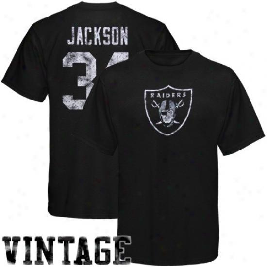Oakland Raider Tee : Reebok Oakland Raider #34 Bo Jackson Retired Legends Name & Number Vintage Tee