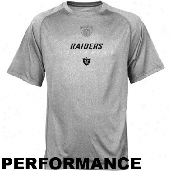 Oakland Raider Tee : Reebok Oakland Raider Ash Equipspeed Performance Crew Top