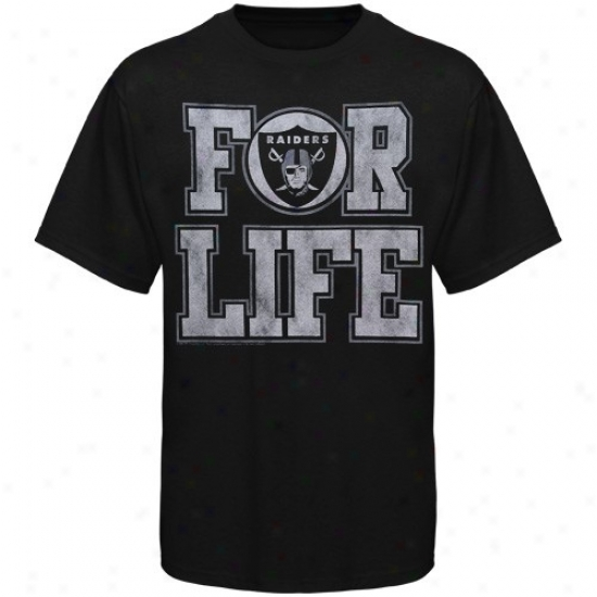 Oakland Raider Tees : Junk Food Oakland Raider Black For Life Premium Tees