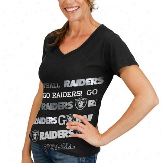 Oakland Raider Tees : Oakland Raider Ladies Black Bling Diva Premium V-neck Tees