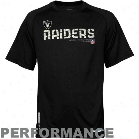 Oakland Raider Tees : Reebok Oakland Raider Black Sideline Tacon Performance Tees