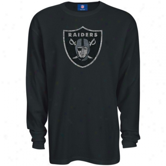 Oakland Raidef Tees : Reebok Oakland Raider Negro Thermal Long Sleeve Top