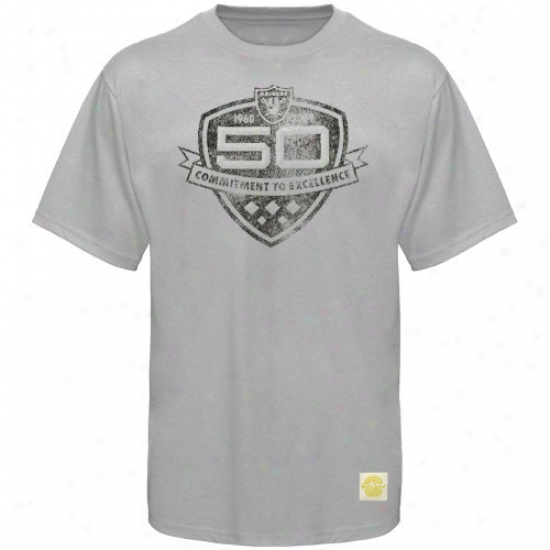 Oakland Raider Tees : Reebok Oakland Raider Gray 50th Anniversary Shield Tees