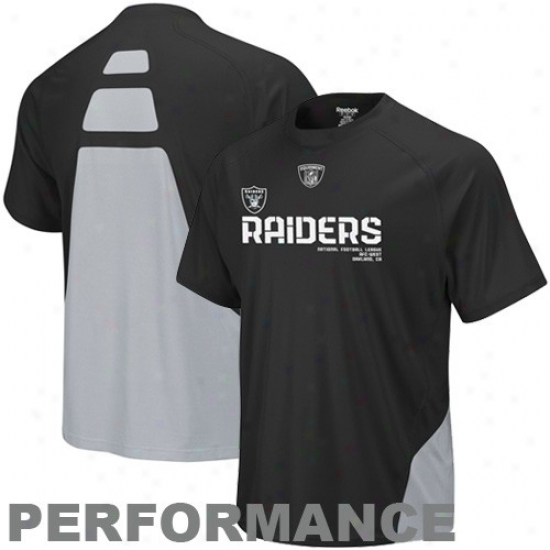 Oakland Raider Tshri : Reebok Oakland Raider Black Conflict Sideline Performance Tshirt