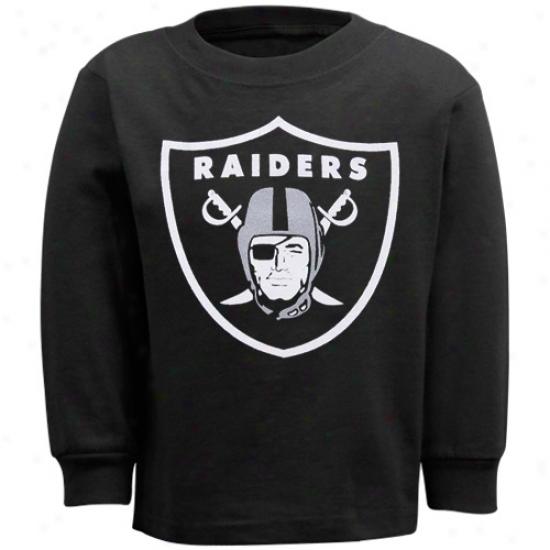 Oakland Raider Tshirt : Reebok Oakland Rader Toddler Black Primary Logo Ling Sleeve Tshirt