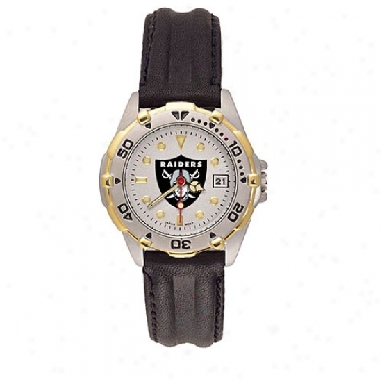 Oakland Raider Watches : Oakland Raider Ladies All-star Watches With Black Leather Band