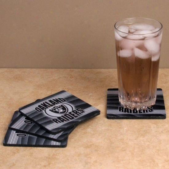 Oakland Raiders 4-pack End Zone Neoprenw Coasters