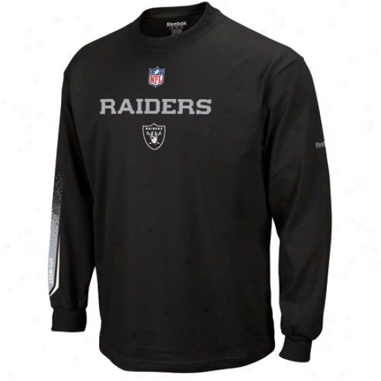 Oakland Raiders Apparel: Reebok Oakland Raiders Black Optimus Long Sleeve T-shirt