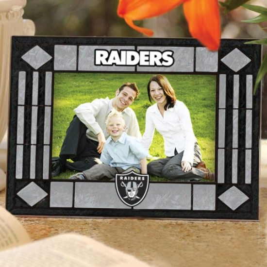 Oakland Raiders Art-glass Horizontal Picture Frame