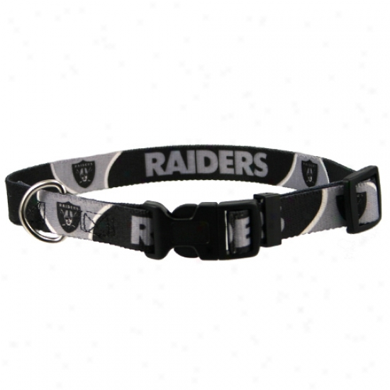 Oakland Raiders Black Adjustable Dog Collar