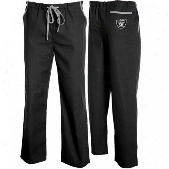 Oakland Raiders Black Basic Unisex Solid Scrub Pants