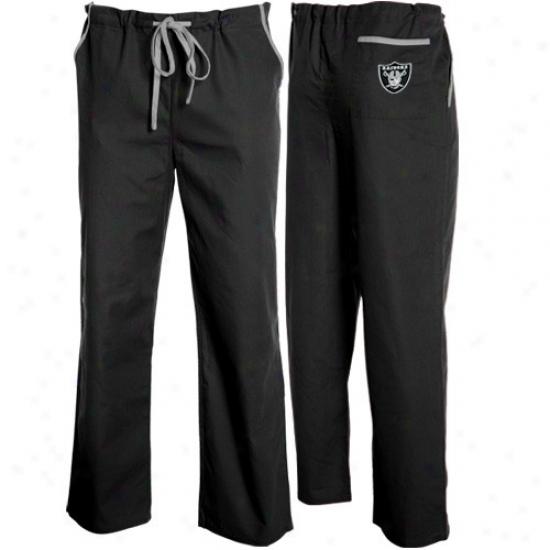 Oakland Raiders Black Basic Unisex Solid Scrub Pants