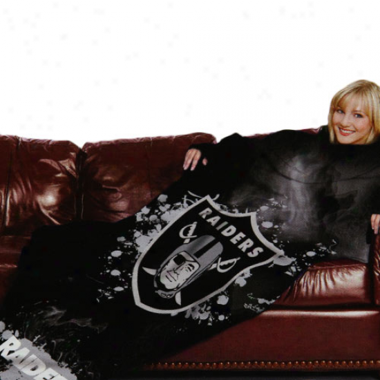 Oakland Raiders Black Team Logo Print Unisex Comfy Throw