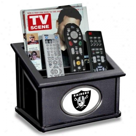 Oakland Raiders Black Wooden Team Logo Media Organizer