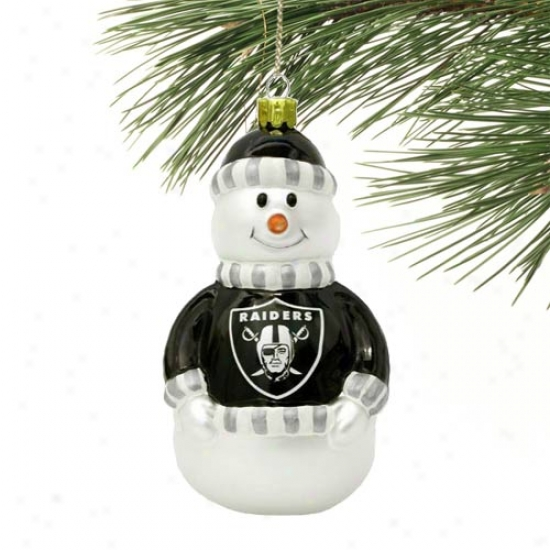 Oakland Raiders Blown Glass Snowman Ornaemnt