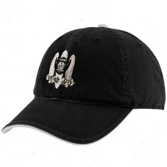 Oakland Raiders Cap : Reebok Oakland Raiders Black Surf Club Adjustable Slouch Cap