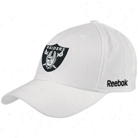 Oakland Raiders Cap : Reebok Oakland Raiders White Coaches Flex Cap